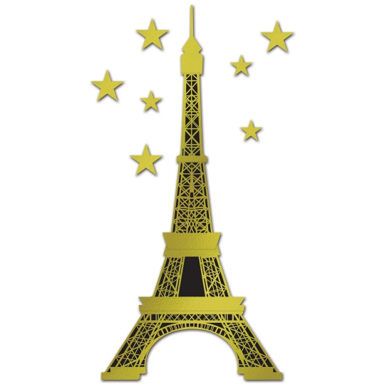 Eiffeltoren wanddecoratie 150 cm. gouden eiffeltoren met sterren decoratie van folie materiaal. ongeveer 150 ...