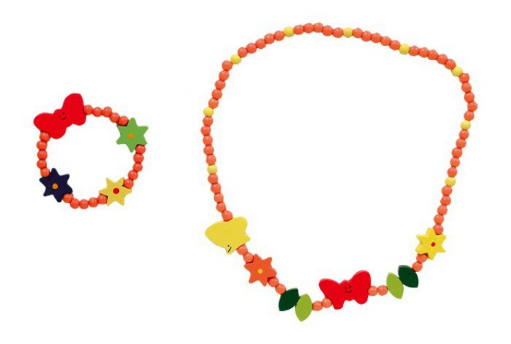 Vlinder sieraden set voor kinderen. houten sieraden set bestaande uit een in totaal 21 cm lange ketting en ...