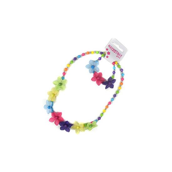 Kinder sieraden setje bloemen. leuke gekleurde kralen ketting en armbandje met bloemen. geschikt voor ...