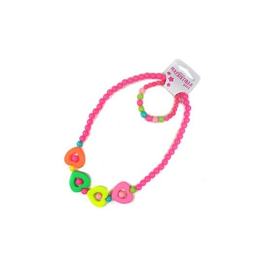 Kinder sieraden setje hartjes. leuke gekleurde kralen ketting en armbandje met hartjes. geschikt voor ...