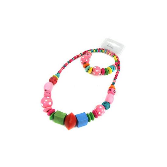Kinder sieraden setje multikleur. leuk gekleurde kralen ketting en armbandje in verschillende vormpjes. ...