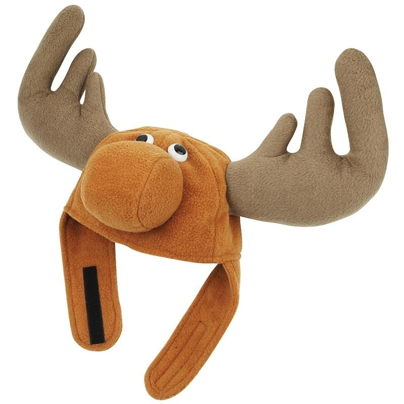Kerstmuts voor volwassenen. de bruine rendier muts heeft een klittenbandsluiting welke u onder uw kin vast ...