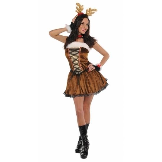 Rendier kostuum voor dames. rendier jurkje met veters aan de voorzijde. dit jurkje is inclusief haarband, ...