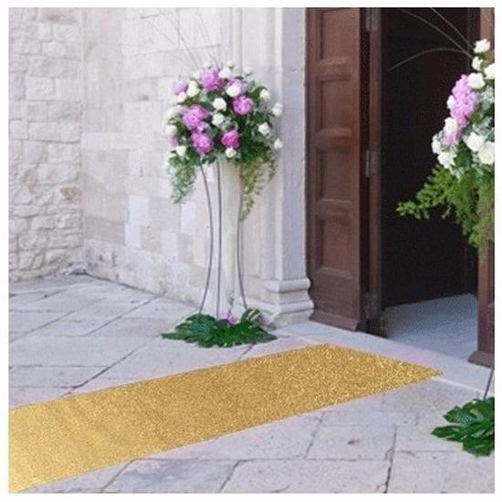 Feestartikelen diversen Geen 10 meter gouden glitter lopers bij 1 meter breed