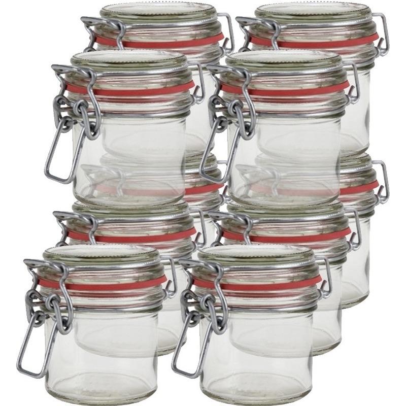 10x hobby/diy mini glazen weckpotjes 100 ml bruiloft bedankjes. glazen mini weckpotten met klepdeksel, ...