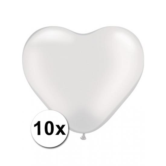 Shoppartners 10x Hart ballonnen transparant Feestartikelen diversen