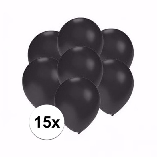 Shoppartners 15x Voordelige metallic zwarte ballonnen klein Feestartikelen diversen