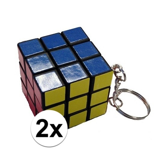 2x Kubus puzzels sleutelhangers