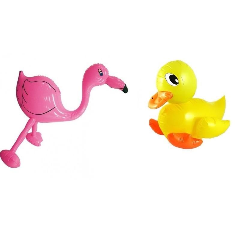 2x Opblaasbare decoratie eendje en flamingo