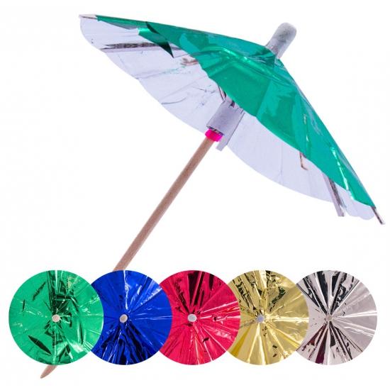 30x Gekleurde parasols prikkers 10 cm
