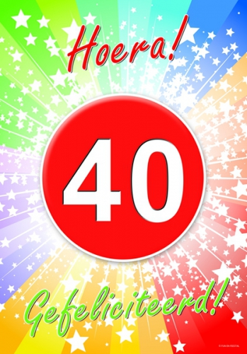 Shoppartners 40 jaar verjaardag poster Leeftijd feestartikelen