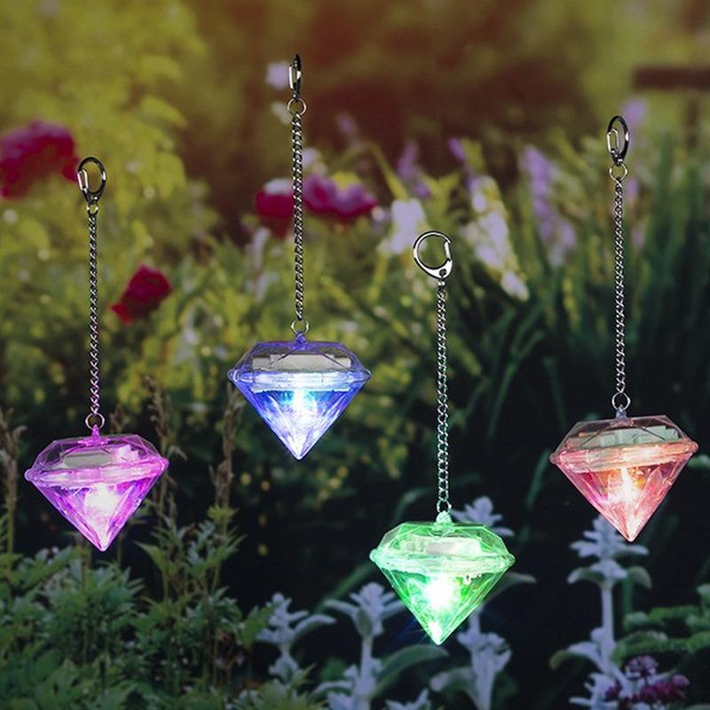 4x Diamanten lichtjes-lampjes op zonne-energie