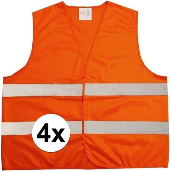 4x Neon oranje veiligheidsvest voor volwassenen