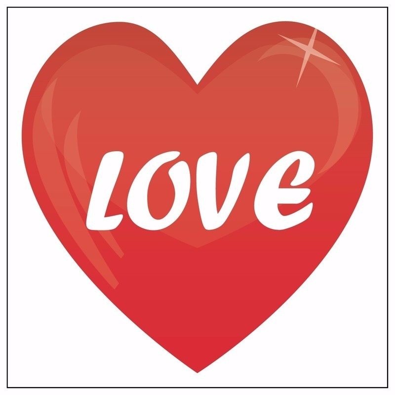 Valentijn feestartikelen Shoppartners 5 hartjes stickers love 10,5 cm