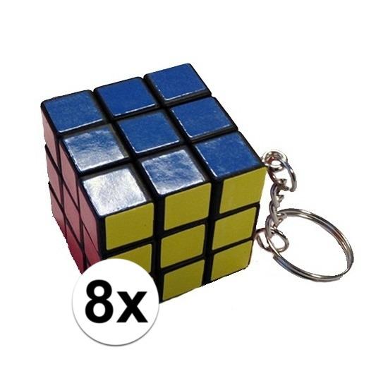 8x Kubus puzzels sleutelhangers
