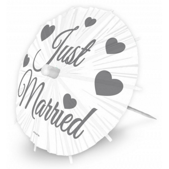 8x stuks bruiloft thema parasols prikkers 20 cm