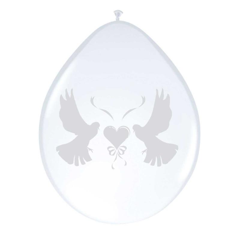 Folat 8x witte duifjes ballonnen Bruiloft en Huwelijk feestartikelen