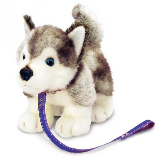 Aangelijnde knuffel Husky