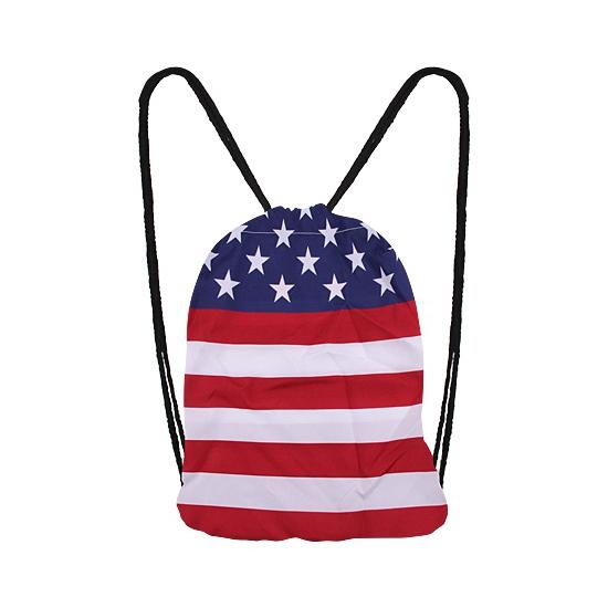 Landen versiering en vlaggen AlleKleurenShirts Amerika rugtas met rijgkoord