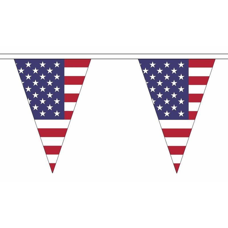 AlleKleurenShirts Amerika slinger met puntvlaggetjes 20 meter Landen versiering en vlaggen