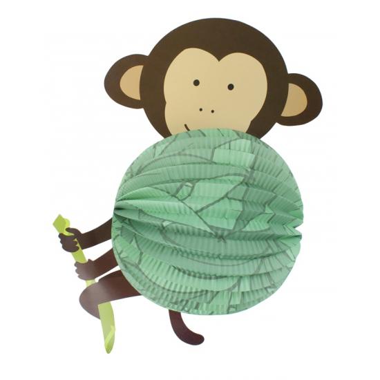 Feestartikelen diversen AlleKleurenShirts Bol lampion aap groen 22 cm