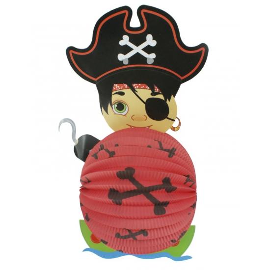 Bol lampion piraat rood 22 cm AlleKleurenShirts Feestartikelen diversen