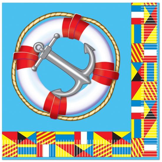 Feestartikelen diversen Boot thema servetten 16 stuks
