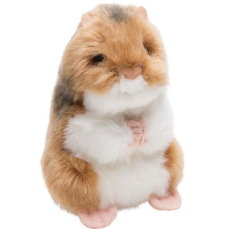 Bruin-witte hamster knaagdieren knuffels 13 cm knuffeldieren