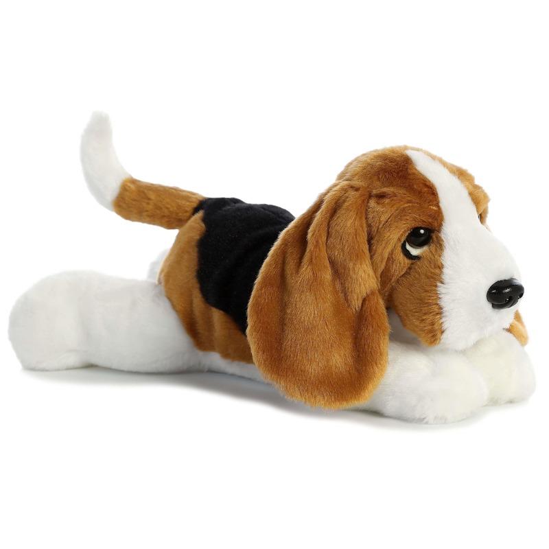 Bruine-zwarte-witte Basset hound honden knuffels 30 cm knuffeldieren