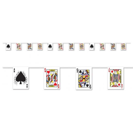 Thema feestartikelen AlleKleurenShirts Casino slinger met kaartspel 4 meter