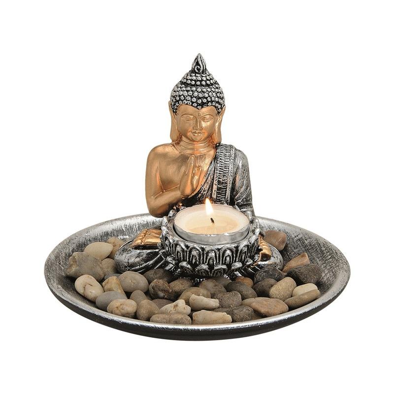 Decoratie boeddha beelden voor binnen met theelichthouder zilver 16 cm