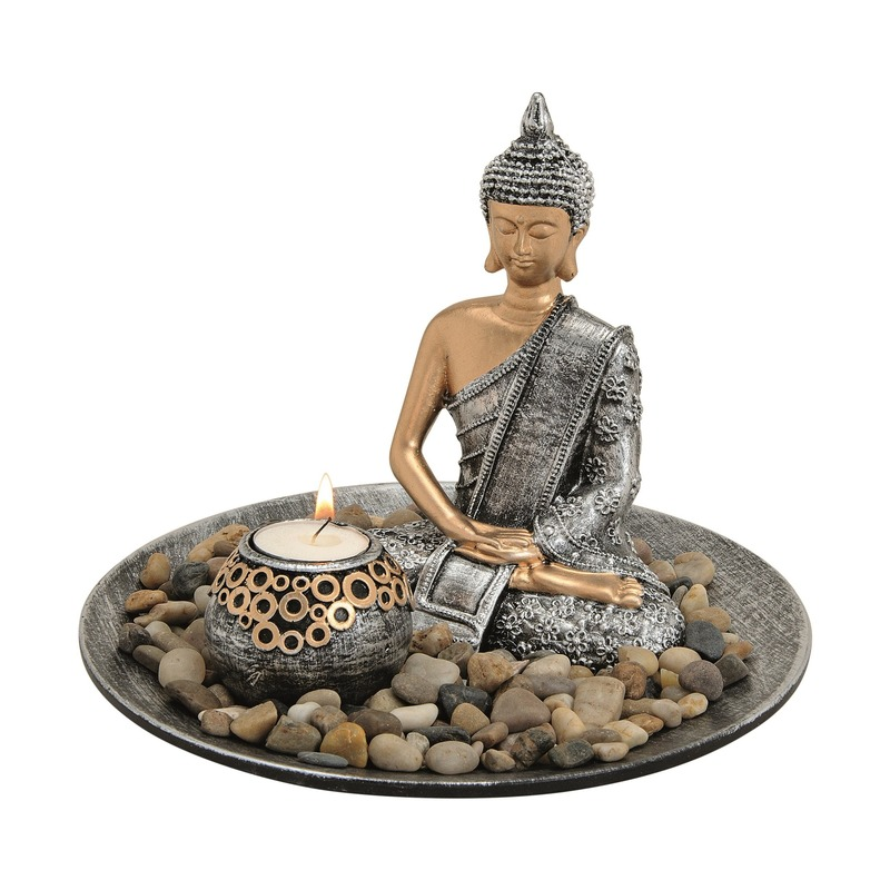 Decoratie boeddha beelden voor binnen met theelichthouder zilver 25 cm