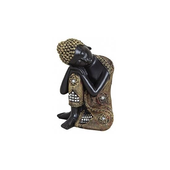 Decoratie slapende Boeddha beeld zwart goud 17 cm Geen Premier