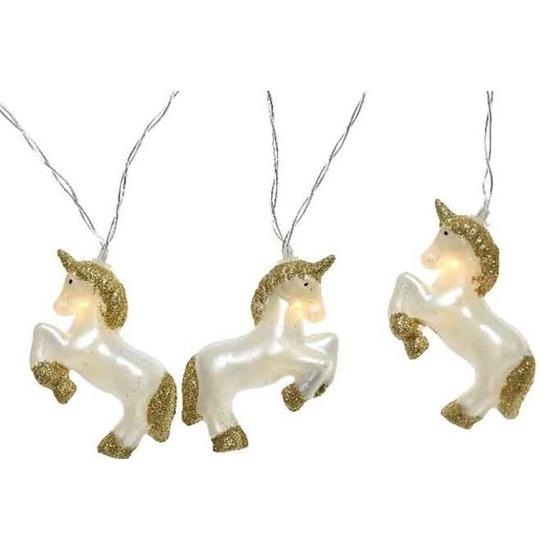 Eenhoorn thema kerstlampjes lichtsnoer slinger 180 cm met 10 eenhoorns lampjes