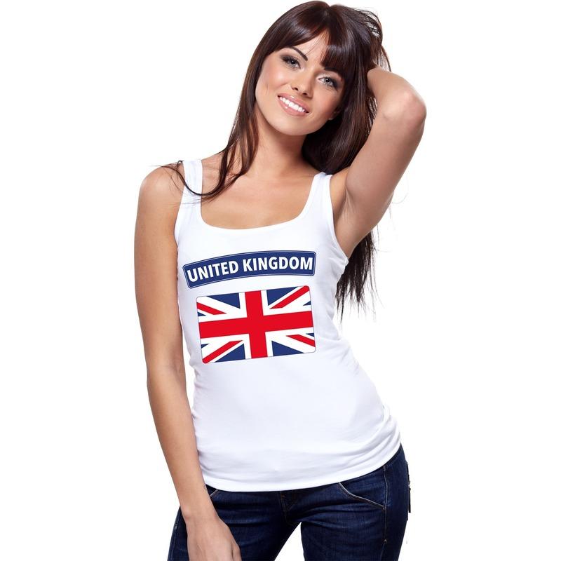 Wit engelse vlag singlet shirt/ tanktop voor dames. op dit mouwloze shirt staat de vlag van engeland. ...