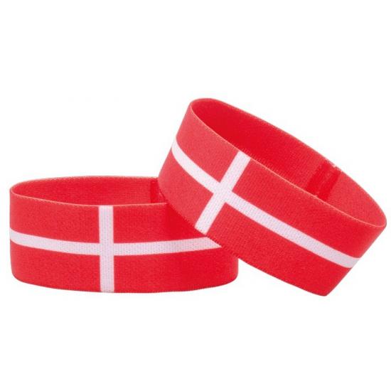 Landen versiering en vlaggen AlleKleurenShirts Fan armband Denemarken