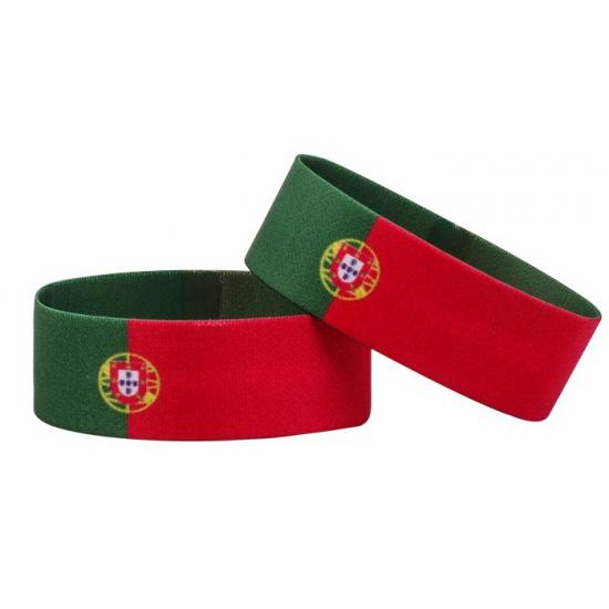 Landen versiering en vlaggen AlleKleurenShirts Fan armband Portugal
