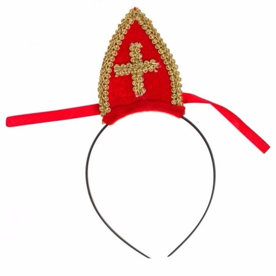 Feest Sinterklaas haarband met rode mijter