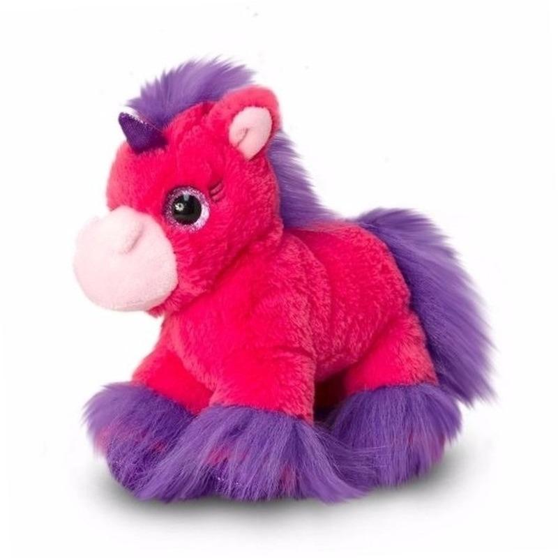 6d1493570ac976 Pluche eenhoorn knuffels fel roze 18 cm. pluche knuffel eenhoorn in het  fuchsia roze.