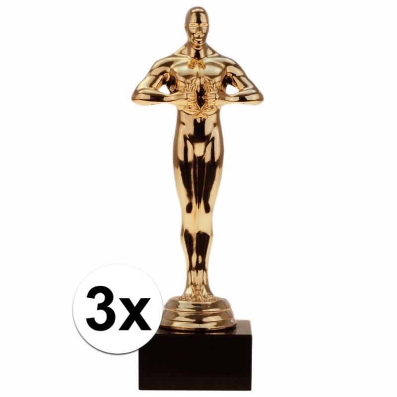 Film thema filmster prijs-beeldje-award goud 15 cm 3 stuks