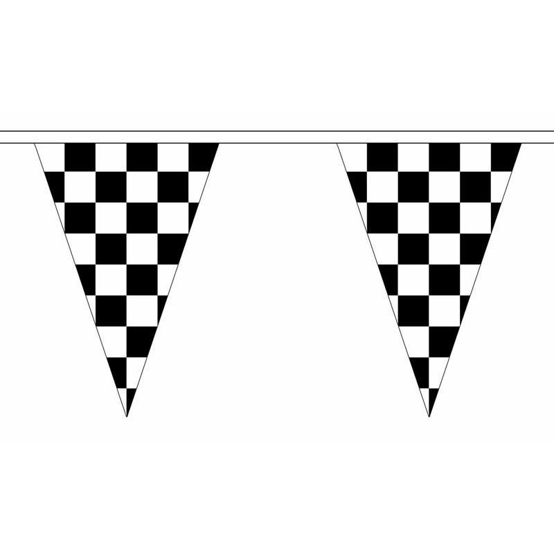 Feestartikelen diversen AlleKleurenShirts Finish slinger met puntvlaggetjes 5 meter