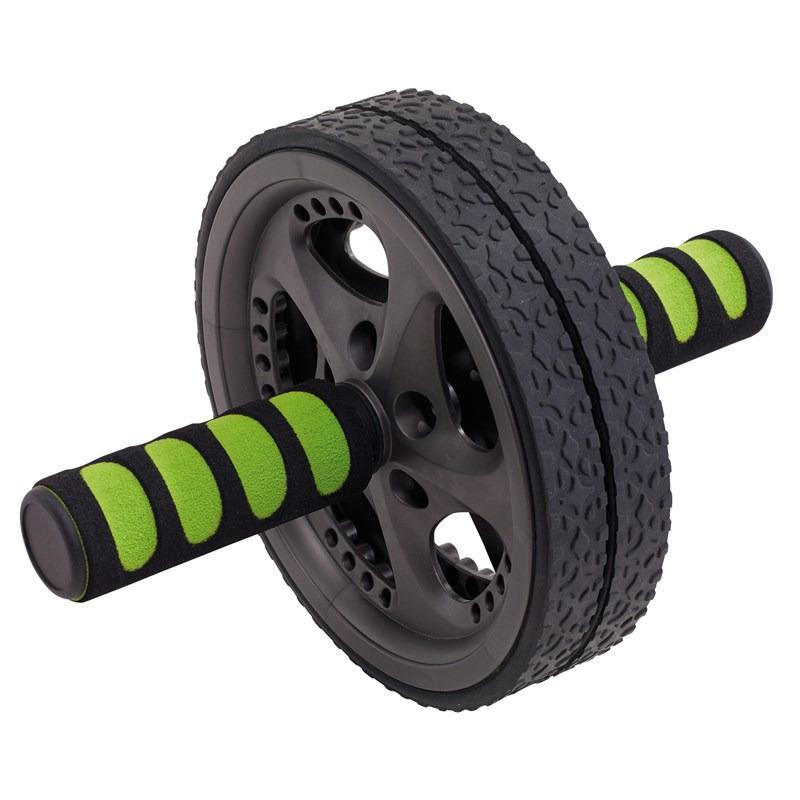 Fitness buikspierwiel-ab roller zwart-groen