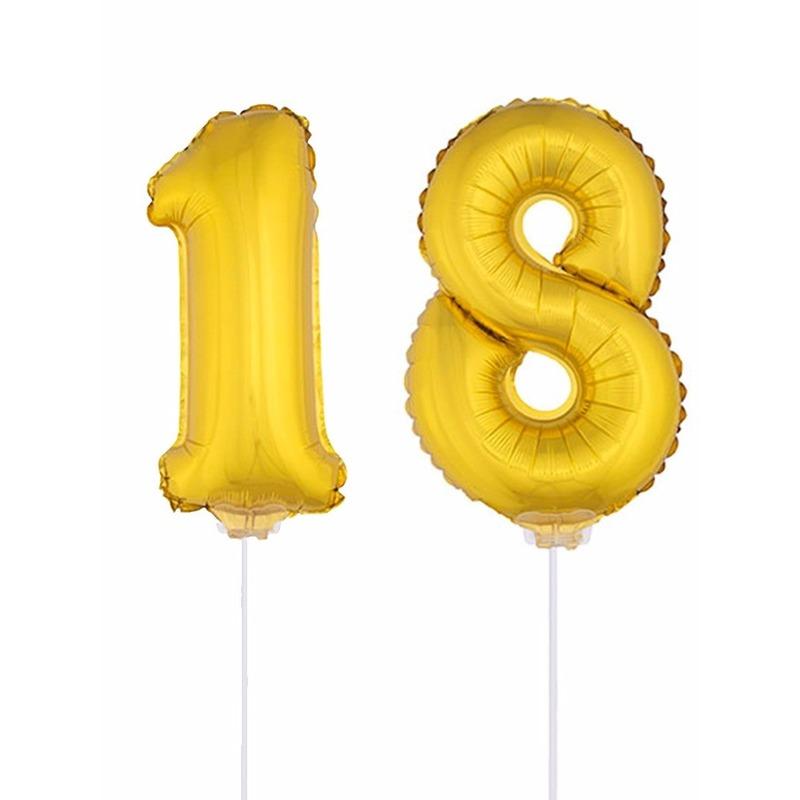 AlleKleurenShirts Folie ballonnen cijfer 18 goud 41 cm Leeftijd feestartikelen