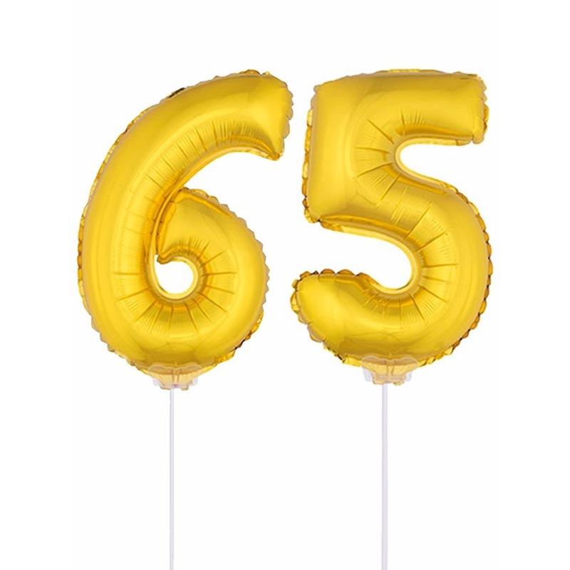 Leeftijd feestartikelen AlleKleurenShirts Folie ballonnen cijfer 65 goud 41 cm