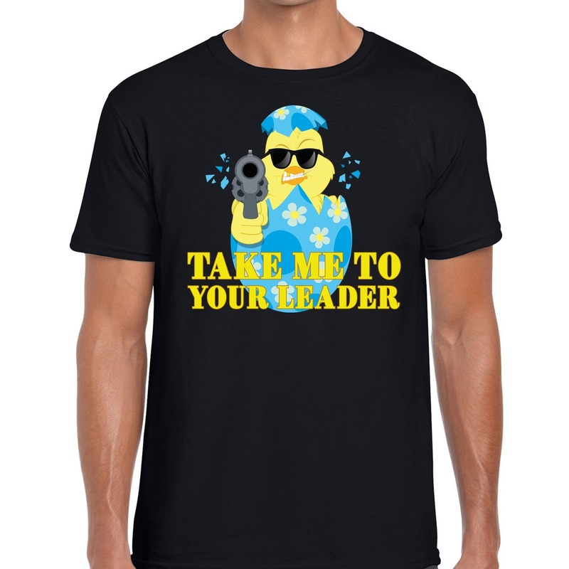 Fout Pasen shirt zwart take me to your leader voor heren