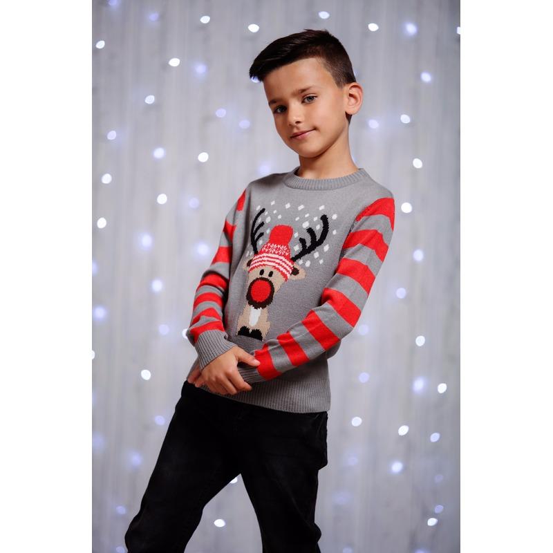 Kersttrui rendier grijs voor kinderen. een grappige grijs met rode kersttrui met een afbeelding van een ...