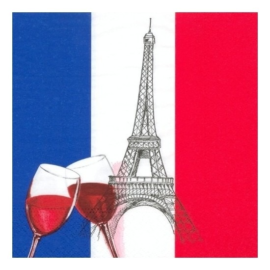 AlleKleurenShirts Franse servetten 50 stuks Landen versiering en vlaggen