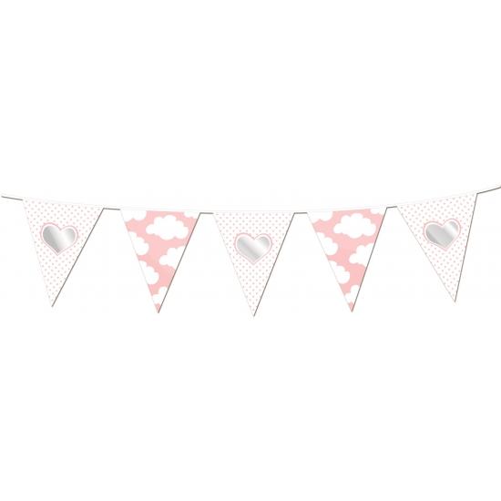Geboorte feestartikelen Geboorte vlaggenlijn slingers roze met wolken