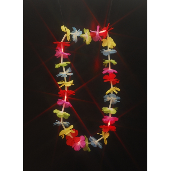 Hawaii feestartikelen Gekleurde hawaii krans met LED