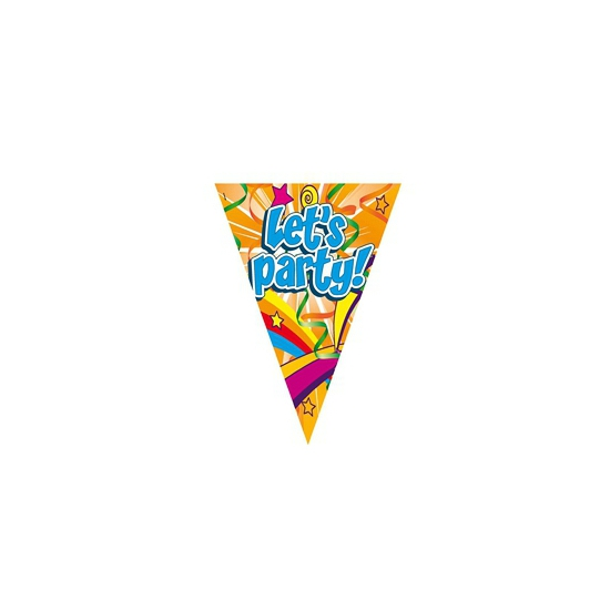 Feestartikelen diversen AlleKleurenShirts Gekleurde Lets Party feest slingers 6 meter